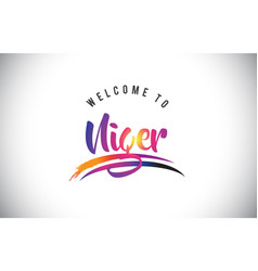 Niger welcome to message in purple vibrant modern vector