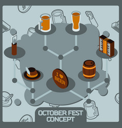 octoberfest color concept isometric icons vector image