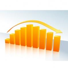 orange bar graph with arrow vector image