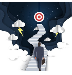 path to success in paper art vector image