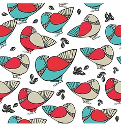 Pattern with birds and seeds vector