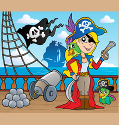pirate ship deck theme 9 vector image