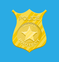 Police officer badge gold emblem vector