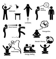 Psychic power sixth sense stick figure pictograph vector