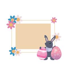 rabbit egg label easter vector image