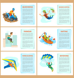 Rafting and parkour in city motorbike riding set vector