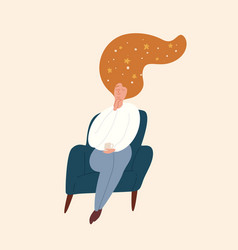 Relaxed girl with starry sky in red hair sitting vector