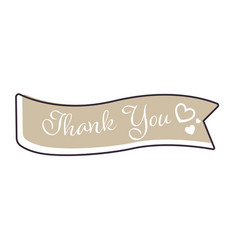 ribbon or banner thank you sign greeting card vector image