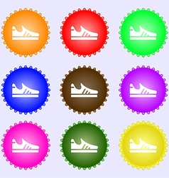 Running shoe icon sign Big set of colorful diverse vector image vector image