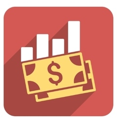 Sales Bar Chart Flat Rounded Square Icon with Long vector