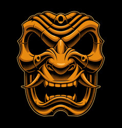 Samurai warrior mask color version vector