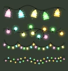 set of christmas lamps garlands warm colour light vector image