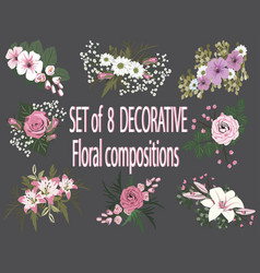 Set of floral compositions vector