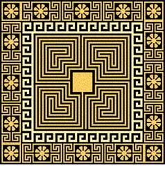 Set Traditional vintage golden square Greek orname vector