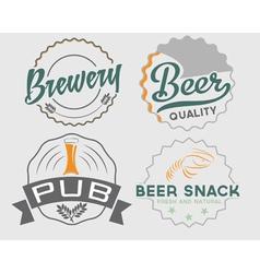 set vintage beer emblems vector image