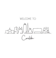 single continuous line drawing cordoba skyline vector image