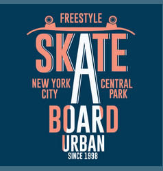 skateboarding new york t-shirt graphic design vector image