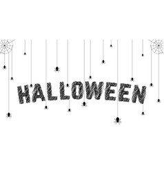 Sketch text with spider like happy halloween vector