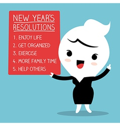 Smiling businesswoman with new year resolutions vector