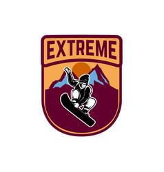 snowboarding emblem with snowboarder design vector image