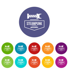 Steampunk machinery icons set color vector