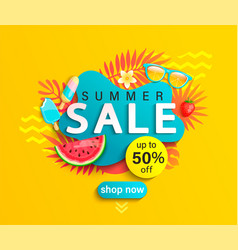 Summer sale banner on yellow background vector