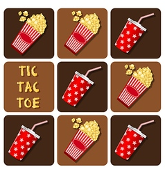 Tic-tac-toe beverages cup with straw and popcor vector