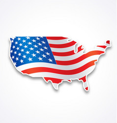 usa america flag in map symbol vector image