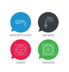 Ventilation water counter icons vector image