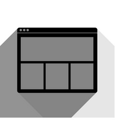 web window sign black icon with two flat vector image