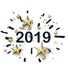 white 2019 new year background with gold stars vector image