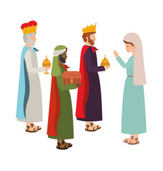 Wise kings with mary virgin manger characters vector