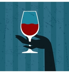 with glass wine and hand vector image