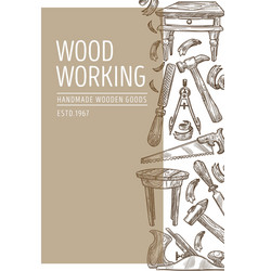 Wood working carpentry tools and handmade wooden vector