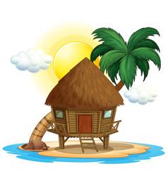 Wooden hut on island vector