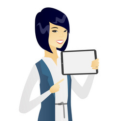 Young asian business woman holding tablet computer vector
