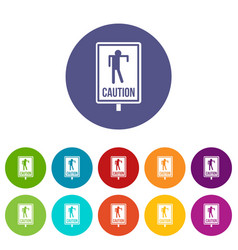 zombie road sign icons set flat vector image