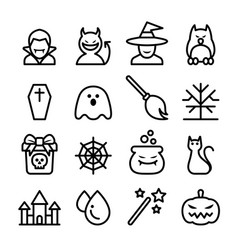 halloween icon set in thin line style vector image