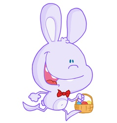 Happy Pale Purple Bunny Running With Easter Eggs vector image vector image