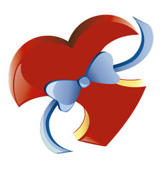 heart with ribbon vector image vector image