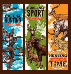 sketch banners for hunting sport club vector image vector image