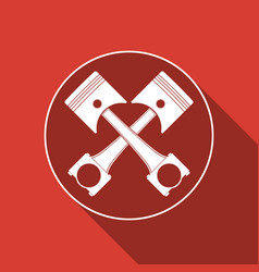 two crossed engine pistons icon with long shadow vector image