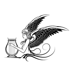 Winged Greek Muse vector image vector image