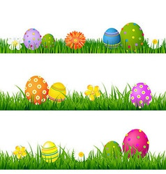 Big Green Grass Set With Flowers And Easter Eggs vector image vector image