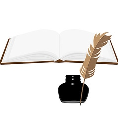 Book and inkwell vector image