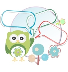 Cute owl with place for your text vector image vector image