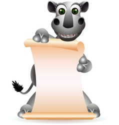 cute rhino cartoon with blank sign vector image vector image
