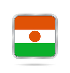 Flag of niger shiny metallic gray square button vector