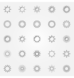 Sun line icons set vector image