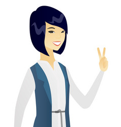 Young asian business woman showing victory gesture vector